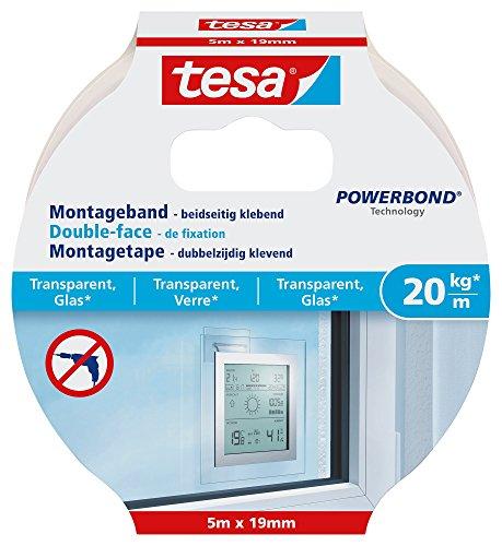 tesa Montageband für transparente Oberflächen und Glas, 5m x 19mm