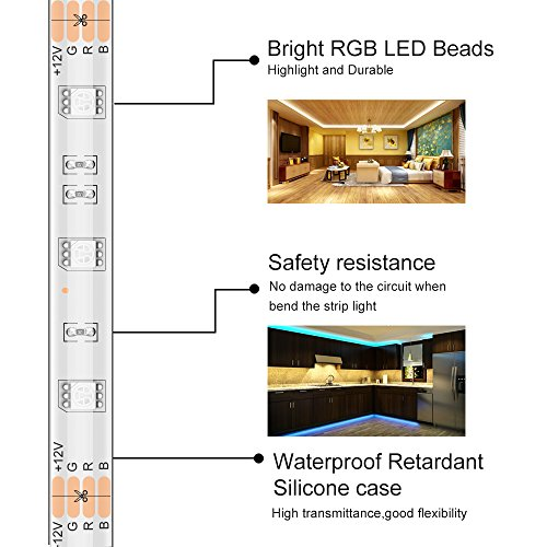 MINGER LED Strip Light Waterproof 16.4ft RGB SMD 5050 LED Rope Lighting Color Changing Full Kit with 44-keys IR Remote Controller, Power Supply Led Strip Lights for Home Kitchen Bed Room Decoration