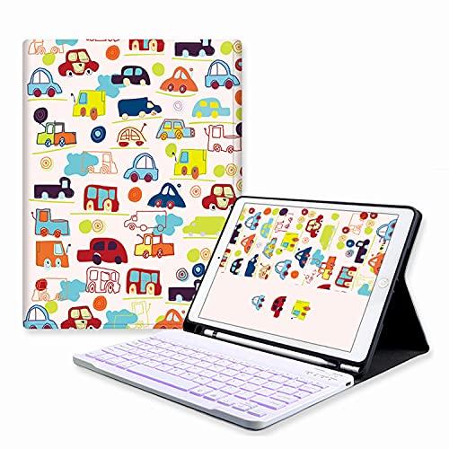 LGQ Funda para Teclado, Compatible con Teclado inalámbrico Bluetooth para iPad Funda Inteligente con retroiluminación de 7 Colores [Auto Reposo/activación],For 2018 pro11