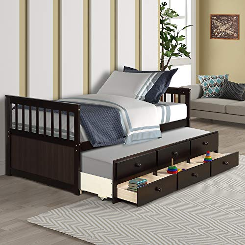 Twin Captain's Bed with Trundle Bed Wood Storage Daybed with 3 Storage Drawers, Platform Bed for Kids Guests Sleepovers, Espresso
