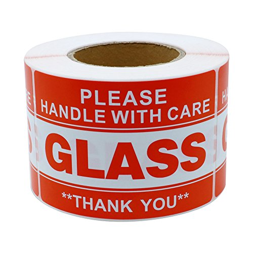 Hybsk 3x5 inch Handle with Care Thank You Glass Stickers Adhesive Label 100 Per Roll (3x5 inch)