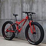 Bicicleta 26 Pulgadas MTB Arriba Rueda Grasa Moto Playa Nieve Grande Grasa Bicicletas 21 Velocidades Grasas para Adultos NeumáTico Grasa Bicicleta MontañA Crucero Bicicleta Grasa,D,24IN