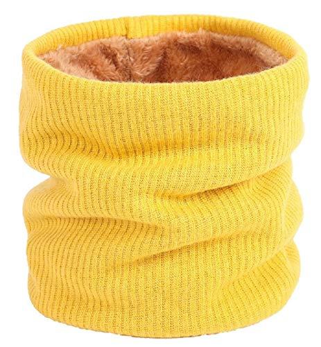 heekpek Sciarpa Invernale Donna Sciarpa Rotonda Lavorata a Maglia (giallo)