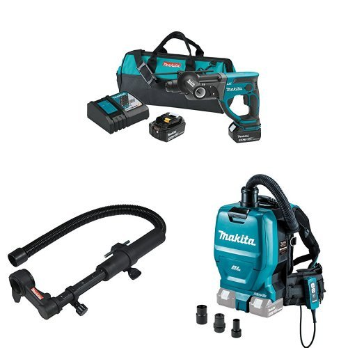 Sale!! Makita XRH03T 18V LXT 7/8-Inch Rotary Hammer Kit, 193472-7 Dust Extraction Attachment, XCV05ZX 18V X2 LXT (36V) Brushless Backpack Dust Extractor/Vacuum