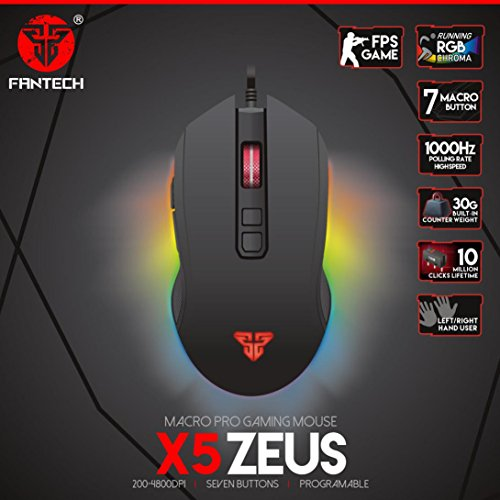 Cywulin Fantech X5 USB Wired 4800dpi 7 Buttons Optical Gaming Mouse LED Backlight for PC,Laptop, Notebook, Desktop, Tablet