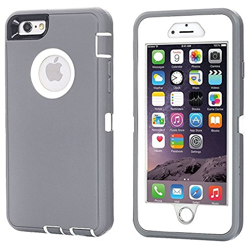 AICase iPhone 6 Case, iPhone 6S Case [Heavy Duty] Tough 3 in 1 Rugged Shockproof Cover for Apple iPhone 6/6S (Grey/White)