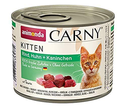 Comida para gatos animonda Carny Kitten, comida húmeda para gatos hasta 1 año, vacuno, pollo + conejo, 6 x 200 g