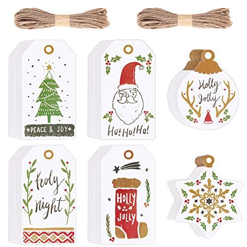 120 Piezas Etiquetas de Regalo Navidad Etiquetas de Papel Precio Tarjetas para Regalos con Cuerda Yute para Bodas, Cumpleaños y Navidad