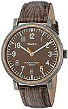 Timex Unisex TWH3Z1910 Originals Oversized Wood Grain/Antique Brass Leather Strap Watch