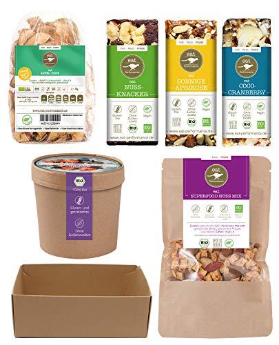 eat Performance® Schreibtisch Helfer Geschenkkorb (6 Artikel + Box) - Bio, Paleo, Ohne Zuckerzusatz, Glutenfrei, Laktosefrei, Aus 100% Natürlichen Zutaten