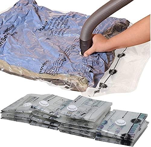 6x SACCHETTO SOTTOVUOTO 70 x100 CM Salvaspazio sottovuoto per biancheria da letto, cuscini, asciugamani, coperte, borse per vestiti, giacche, abbigliamento da sci