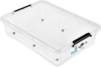 3 sztuki - ORPLAST SimpleStore pojemnik na bedroller Box Mega z pokrywką/klipsami/kołami - 61 litrów - 76 x 57 x 18 cm - p...
