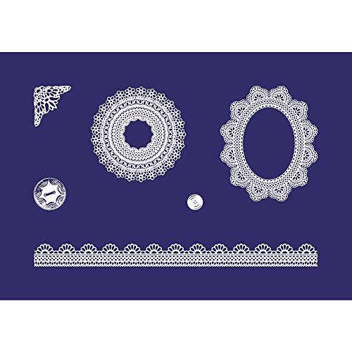 Rayher 45069000 Schablone Motiv: Zarte Spitzen, DIN A5, 14,8 x 21 cm, mit Rakel, Siebdruck-Schablone, Malschablone, selbstklebend