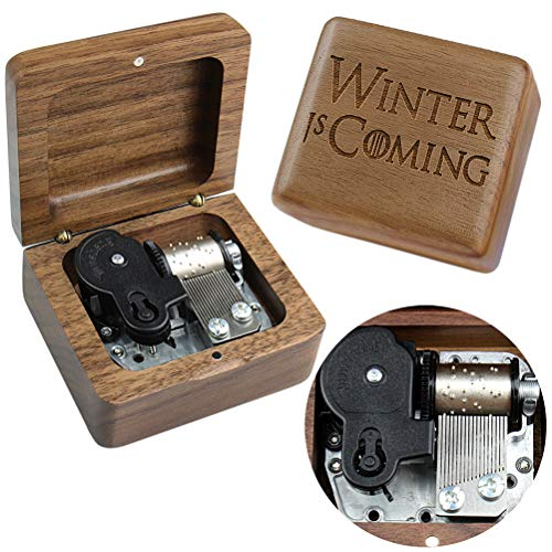 Sinzyo Walnut Wood Game of Thrones Music Box Retro Wood Carving Movement Music Box Gifts Gifts for Christmas, Birthday, Valentine, Children, Friends