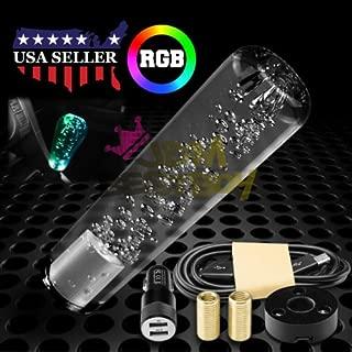 JDMBESTBOY LED Light RGB Shift Knob Stick Crystal Transparent Bubble Gear Shifter 15cm