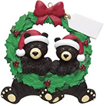Personalized Black Bears Wreath Christmas Tree Ornament 2019 - Cute Couple Sibling Friend Santa Hat Hug Note Glitter Green Winter Year - Free Customization