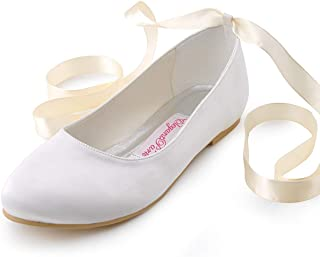 Women Comfort Flats Closed Toe Ribbon Tie Satin Wedding Bridal Shoes