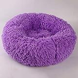 Generic Warme und Bequeme Plüsch-Hundehütte, rund, geeignet für kleine und mittlere Hundehütten und Katzenzwinger Lila S