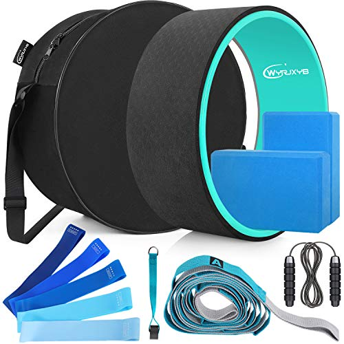 WYRJXYB Yoga Wheel Set (11-in 1) with Yoga Blocks (2 Pack), Resistance Band (5 Pack), Yoga Strap, Jump Rope and Yoga Wheel Bag for Stretching & Physical Therapy, Set of 11 (Blue)