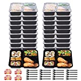 Meal Prep Containers Set,3 Compartment with Lids,Stackable, Microwavable, Freezer & Dishwasher Safe,Lunch Box