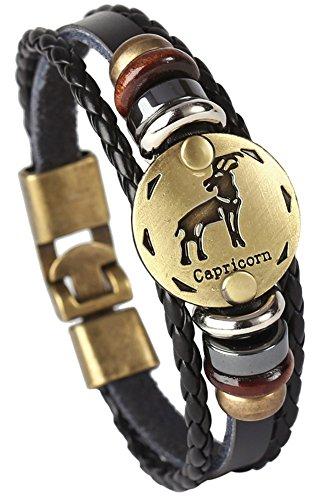 Hamoery Punk Alloy Leather Bracelet For Constellation Braided Rope Bracelet Bangle(Capricorne)