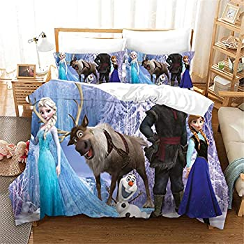 Ntioyg Kids 3D Frozen Princess Anna Elsa Bedding Sets Queen Toddler Duvet Cover Sets for Boys Girls Bed Set Super Soft Microfiber Comforter Cover 3Piece NO Comforter  1 Duvet Cover + 2 Pillow Shams
