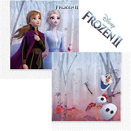 Procos 91128 Servietten Kindergeburtstag Disney Frozen 2, Anna und Elsa, Olaf, 20 Stück, blau