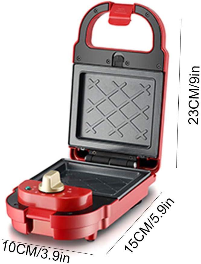 FUDIV Gaufrier Automatique pour la Maison, Mini gaufrier Multifonctionnel, Facile à Utiliser, Deux Surfaces antiadhésives, 600 Watts Red