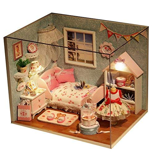 Dapei DIY Puppenhaus Kleines Mädchen Boudoir 3D Holz Miniaturhaus Kit mit LED Licht Kunsthandwerk Kreativ Geschenk Spielzeug für Valentinstag, Kindertag, Weihnachten, Hochzeit, Geburtstag
