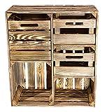 Vintage Möbel 24 GmbH 1x Rustikale schmale Kommode aus geflammten Holz, 3 Schubladen für Wintersachen/Unterwäsche/Socken, neu, 68x35x77cm