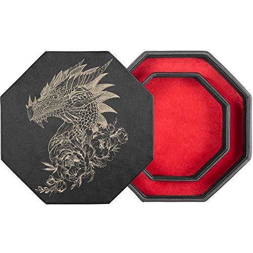 shibby - tabellone per Dadi con Vassoio per Dadi e Coperchio per Tutti i Giochi da Tavolo - 23,5 cm Floral M8-1 (Rosso)