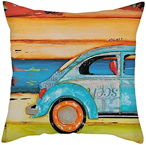 Funda de cojín de pintura al óleo de verano paisaje de dibujos animados mar Bicicletas Throw Funda de almohada hogar sofá silla de coche Funda de cojín 18 x 45 cm