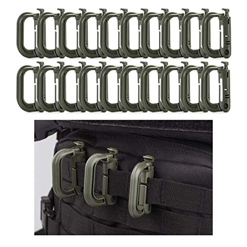 Flying swallow 20pcs Tactical Multi-purpose D-Ring Locking Hanging, gancio Tactical Link Snap portachiavi per Molle Webbing, Accessori borsa tattica (Verde militare)