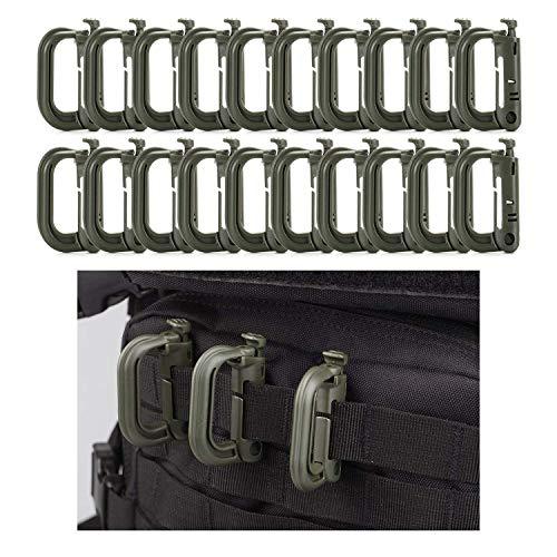 Flying swallow 20 Stück Karabiner Clip Verschluss Klein Plastik D Ring Schlüsselanhänger für Rucksack and MOLLE System Zubehör (Army Green)