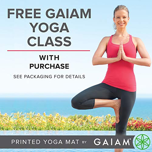 Gaiam Yoga Mat - Classic 4Mm Print Exercise & Fitness Mat For All Types Of Yoga, Pilates & Floor Exercises (68 X 24 X 4Mm Thick)