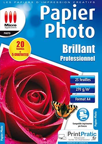 Papier Photo Brillant - 25 Feuilles Papier Photo Professionnelle Brillante, Format A4, 270 g/m², Séchage Rapide, Impressions - 9600 dpi, Compatible Imprimantes Jet d'Encre - Micro Application