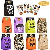 Exceed 81 Pcs Halloween Party Geschenktüten, mit 84 Pcs Aufklebern, Partybevorzugung Candy Bags Partybevorzugung, Süßes oder Saures, für Kinder Halloween Party Dekorationen