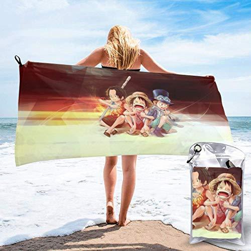 One Piece Luffy Ace Sabo - Toalla de baño seca de microfibra suave y esponjosa, toalla de playa, se puede utilizar como camping, yoga, gimnasia, piscina, cuarto de baño, silla de playa, senderismo