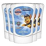Sagrotan No-Touch Kids Nachfüller Aloe Vera – Paw Patrol Edition – Für den automatischen Seifenspender – 5 x 250 ml Handseife im praktischen Vorteilspack