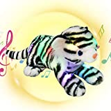 Houwsbaby LED Musical Stuffed Bengal Tiger Floppy Singing Light Up Adorable Plush White Tiger Toy Lullaby Animated Soothe Birthday for Kids Toddler Girls, 13''