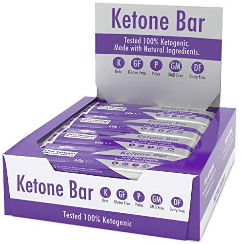 Ketone Bar (Scatola da 12 barrette) | Snack Bar chetogenico | Contiene Ketone Boosting Pure C8 MCT | Paleo & Keto Friendly | Senza glutine | Sapore di caramello al cioccolato | Ketosource