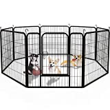 Yintatech Dog Playpen Indoor Outdoor 8-Panel Heavy Duty Portable and Foldable Exercise Playpen for Dogs Puppies Animals Pets with Metal Fence Kennel