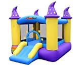 Wizard Inflatable Bounce House Bouncer, Spacious Bouncing Area with Fun Slide, Safe hook-and-loop fastener Entrance, Basketball Hoop, Fun Party Wizard Castle Theme, Inflated Size: 9 ft x 8 ft x 7 ft H