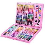 DAJIANG Juego de 168 piezas de pintura para dibujo artístico, juego de acuarela, lápiz de colores, pintura al óleo, pastel de herramientas, suministros de papelería para niños, set de regalo rosa