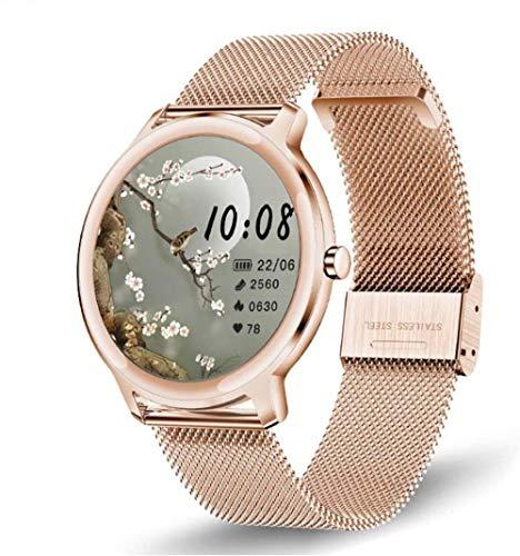 Reloj inteligente para mujer de gama alta con monitor de frecuencia cardíaca, resistente al agua, IP68, reloj de fitness redondo con podómetro, cronómetro, reloj deportivo para iPhone Android y dorado