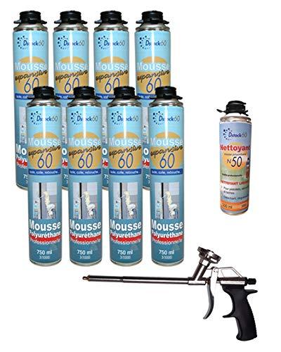 Dstock60 – Lote de 8 espumas poliuretano expansiva + 1 pulverizador + 1 limpiador – Espuma expansiva 750 ml – Espuma poliuretano profesional – aislamiento, pegamento y rebote, exterior e interior