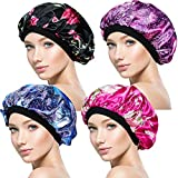 4 Pieces Soft Sleep Cap – Night Satin Bonnet with Wide Premium Elastic Band for Women