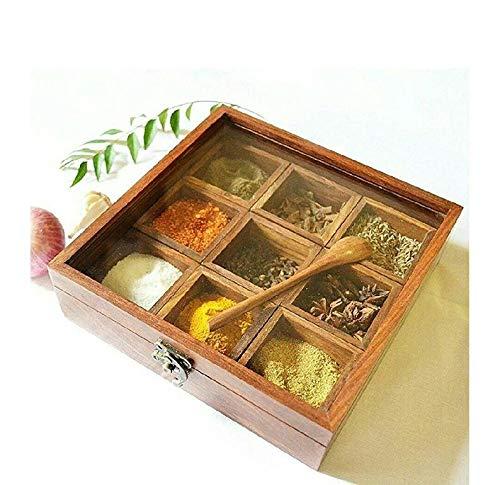 WorldOfIndianArt presenta caja de especias con cuchara en soportes de madera para almacenar cajas decorativas