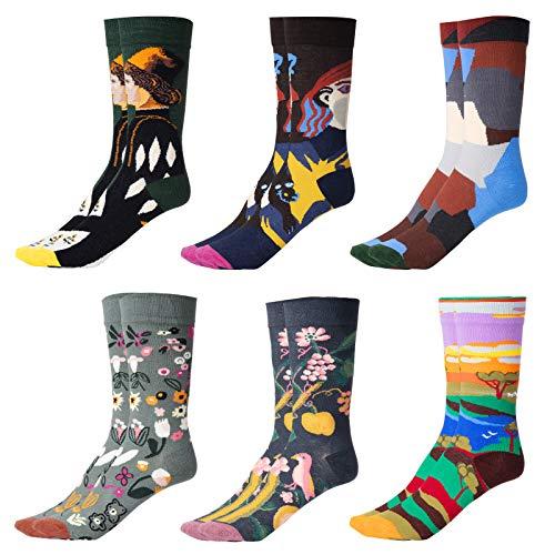GuKKK Calcetines Estampados, 6 Pares Calcetines Hombres Mujer Divertidos, Calcetines Algodon Estampados Impresos de Pintura de Arte, Ocasionales Calcetines Divertidos, Calcetines de Colores (6)