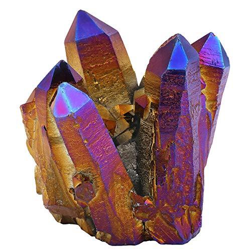 mookaitedecor Piedra de cristal de roca natural con revestimiento de titanio, geoda decorativa, piedra natural, piedra preciosa, decoración de muestra